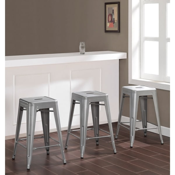 Shop Carbon Loft Tabouret 24 Inch Metal Counter Stools Set Of 3