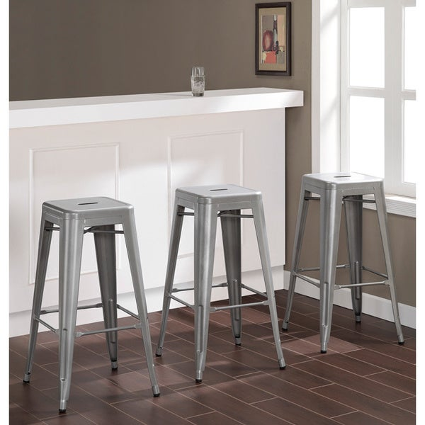 Shop Carbon Loft Tabouret 30 Inch Silver Metal Barstools Set Of 3