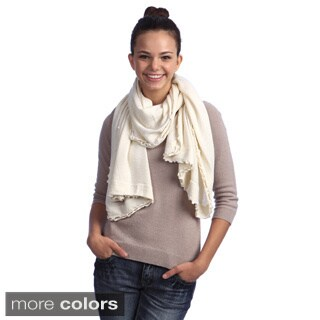 Cashmere and Wool Lettuce Edge Wrap (Option: Grey)