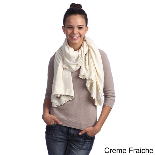 Cashmere and Wool Lettuce Edge Wrap. Opens flyout.