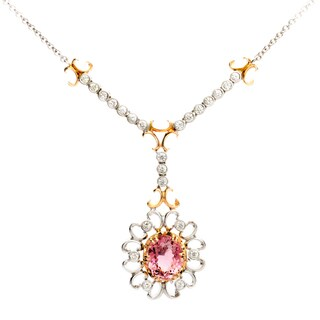 18k Two-tone Gold Pink Tourmaline and 1 1/3ct TDW Diamond Circle Necklace (G-H, VS1-VS2)