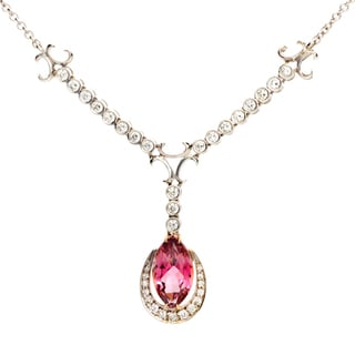 18k White Gold Pink Tourmaline and 1 1/2ct TDW Diamond Antique-style Necklace (G-H, VS1-VS2)