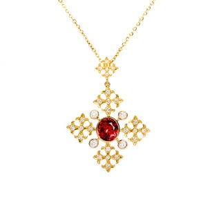 18k Gold Red Tourmaline and 1ct TDW Diamond Cross Necklace (G, VS2)