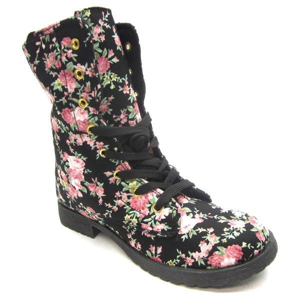 Blue Women's 'Fleur' Black Floral Print Mid-calf Combat Boots ...