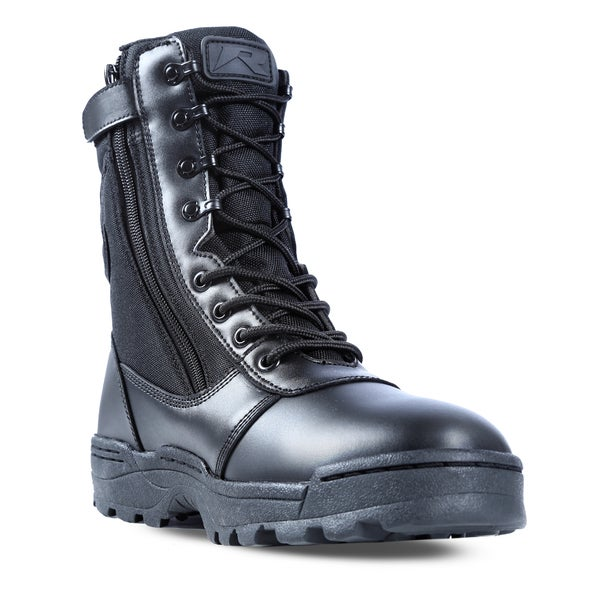 Dura-Max Men&39s Black Leather Composite Toe Zippered Work Boots