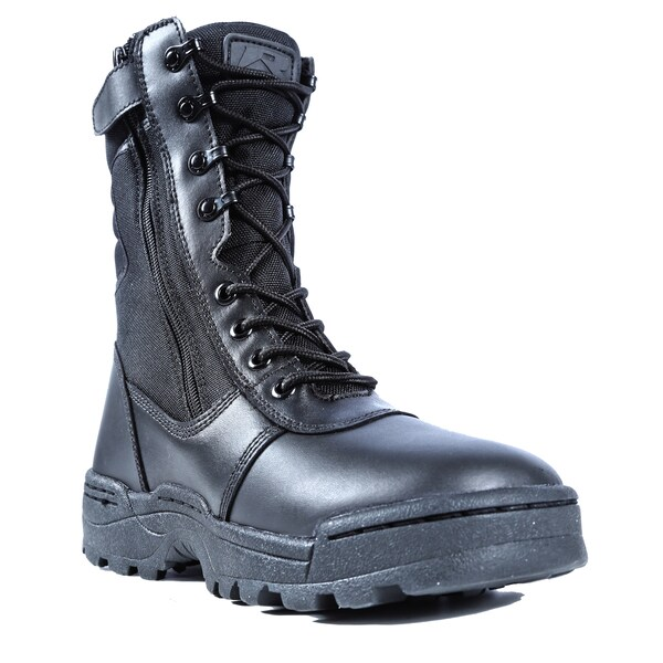 Dura-Max Men's Black Leather Waterproof-lined Work Boots