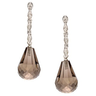 14k White Gold Smokey Quartz and Diamond Accent Earrings