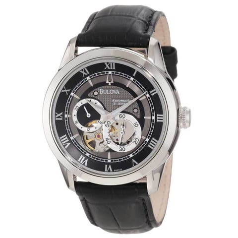 Bulova Men's Mechanical Black Leather Automatic Watch with Black Dial