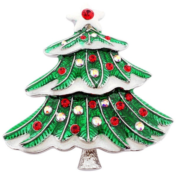 Silvertone Red and White Crystal Christmas Tree Brooch