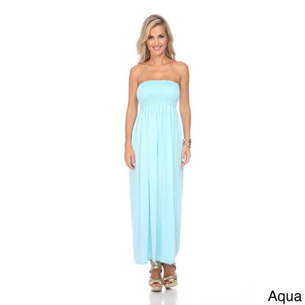 Stanzino Women's Strapless Smocked Maxi Dress