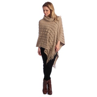 Saro Women's Knit Turtleneck Poncho (Option: Beige)