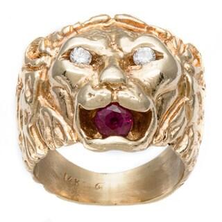 Pre-owned 14k Gold Tourmaline and 1/10ct TDW Diamond Monkey Estate Ring (G-H, VS1-VS2)