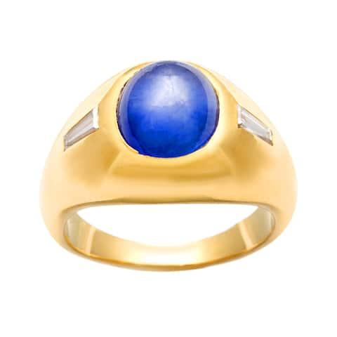18k Gold Star Sapphire and 1/6ct TDW Diamond Estate Ring (J-K,SI1-SI2)