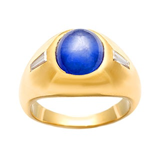 Pre-owned 18k Gold Star Sapphire and 1/6ct TDW Diamond Estate Ring (J-K,SI1-SI2)