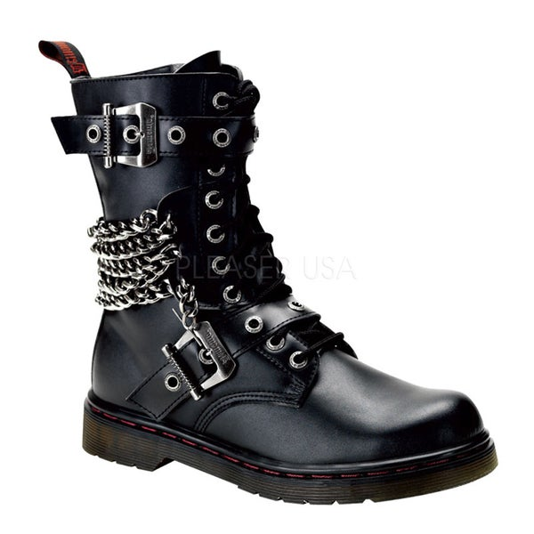 Demonia Men's 'Disorder-204' Black Chains and Straps Combat Boots ...