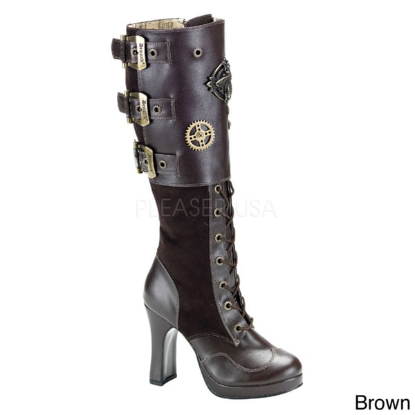 Demonia Women's 'Crypto-302' Steampunk Hardware Lace-up Boots