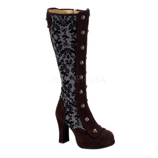Demonia Women's 'Crypto-301' Brown Double-button Steampunk Boots