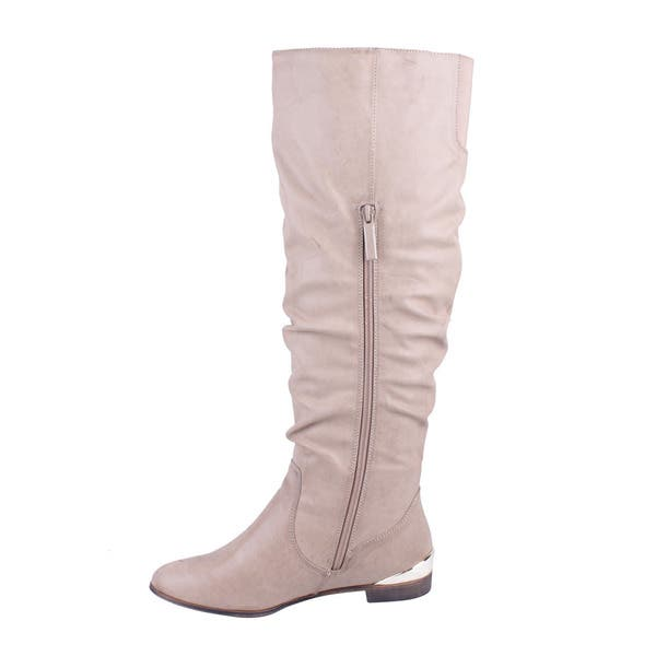 5e252ee5f73 Shop DBDK Women's 'Chicago-01' Flat Bottom Knee-high Riding Boots ...