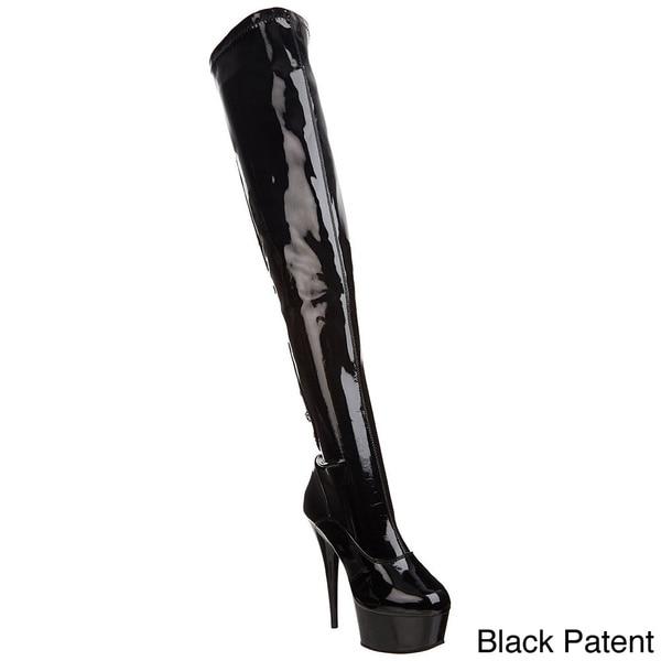 Pleaser Women's 'DELIGHT' Stiletto Heel Back Lace Platform Thigh-high Boots