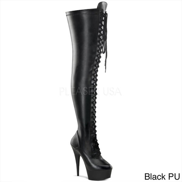 Pleaser Women's 'Delight-3023' Black Thigh-high Stiletto Boots ...