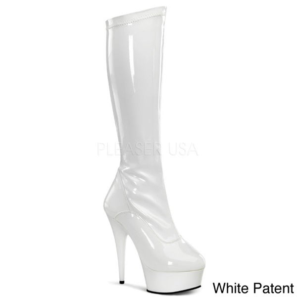Pleaser Women's 'DELIGHT' Stretch Platform Knee-high Boots