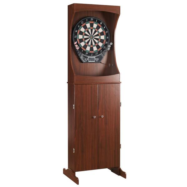 Hathaway Outlaw Free Standing Dartboard and Cabinet Set in a Cherry Finish