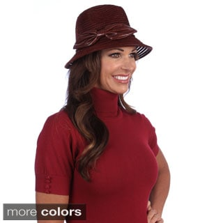 Swan Women's Leather Bow Crusher Fedora