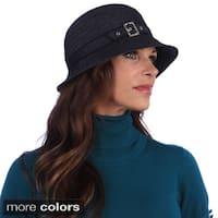 Swan Women's Year Round Feminine Black/Tan Denim Ribbon Packable Hat