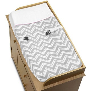 Sweet JoJo Designs Pink and Grey Zig Zag Changing Pad Cover