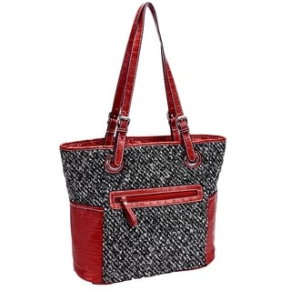 Parinda Melody Quilted Fabric with Croco Faux Leather Tote