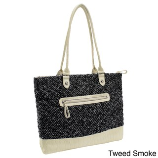 Parinda Allie Quilted Fabric with Croco Faux Leather Tote Bag (5 options available)