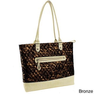Parinda Allie Quilted Fabric with Croco Faux Leather Tote (Option: Gold)