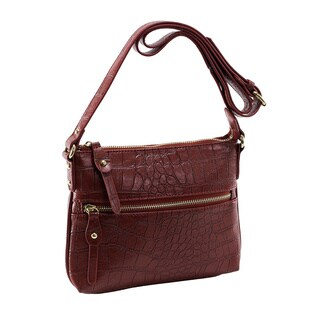 Parinda Ashen Textured Faux Leather Crossbody Bag