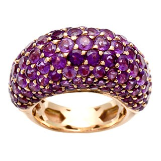 Pre-owned 18k Rose Gold Amethyst Dome Estate Ring
