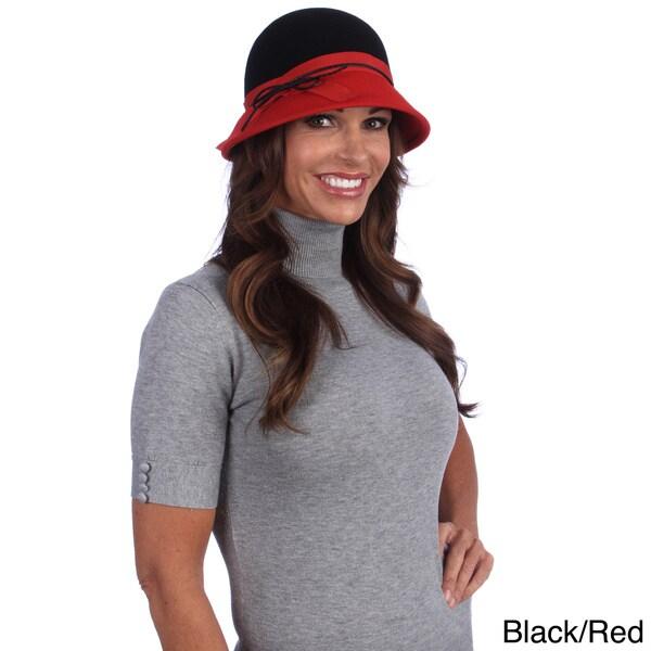 Swan Hat Women's Wool Felt Bucket Hat with Gross Grain Ribbon Band