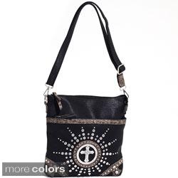 Dasein Western Rhinestone Studded Messenger Bag