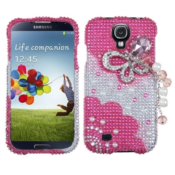 BasAcc Pink Butterfly Chain 3D Diamante Case for Samsung© Galaxy S4
