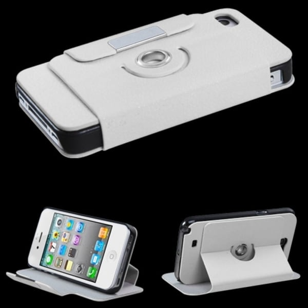 INSTEN White Wallet-Style Phone Case Cover for Apple iPhone 4/ 4S