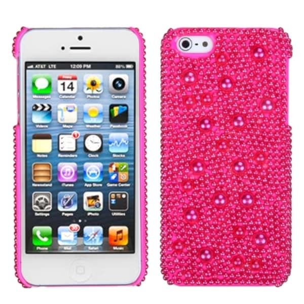 INSTEN Hot Pink/ Pearl/ Diamante Phone Case for Apple iPhone 5 / 5S / SE