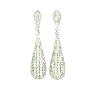Sterling Silver Cubic Zirconia Double Cone Earrings