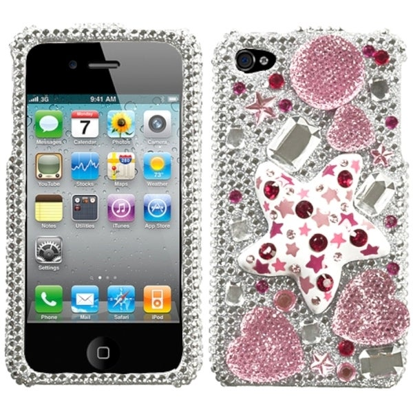 INSTEN Candy Stars/ Crystal Diamante Phone Case Cover for Apple iPhone 4S/ 4