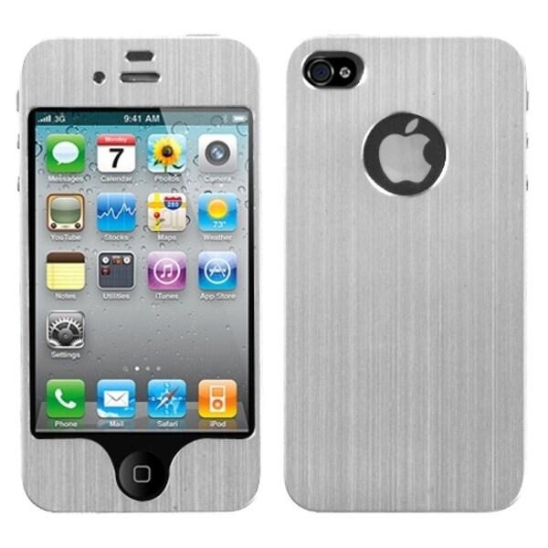 INSTEN Silver brushedMETAL Decal Shield Phone Case Cover for Apple iPhone 4/ 4S