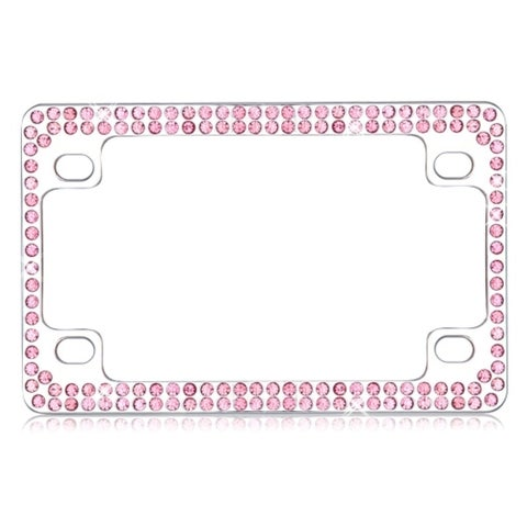 INSTEN Chrome Motorcycle License Plate Frame with Pink Crystal