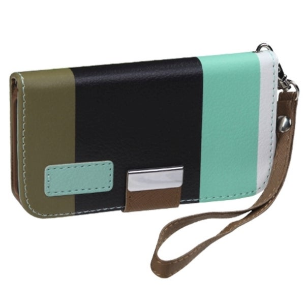 INSTEN Baby Blue/ Black/ Grey Wallet Phone Case Cover for Apple iPhone 4/ 4S
