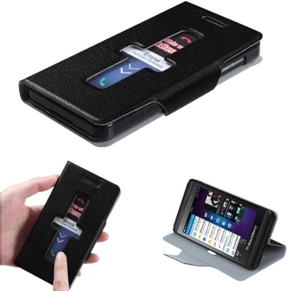 INSTEN Black Wallet Phone Case Cover for Blackberry Z10