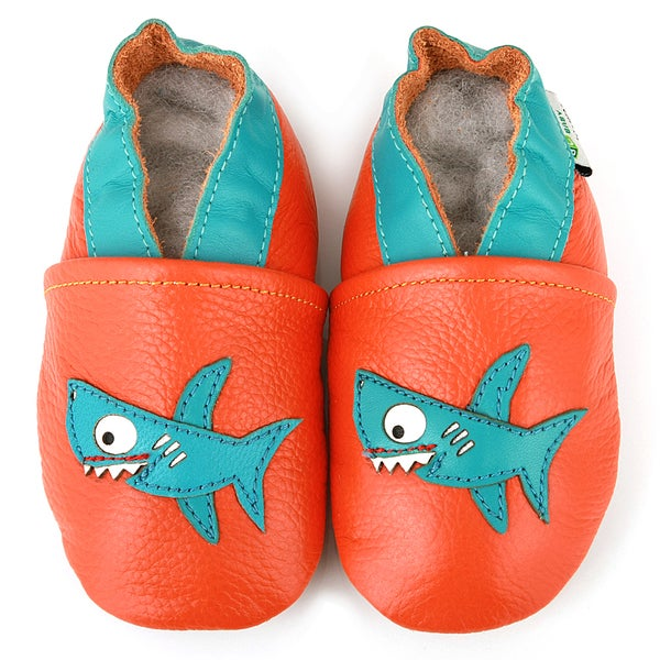 AUGUSTA BABY Baby Boys Girls First Walker Soft Sole Leather Baby Shoes - Shark - EU Size 22 Q26uZ