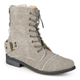 Hailey Jeans Co. Women's Zafrina Lace-Up Buckle-Strap Combat Boots