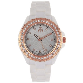Jivago Women's Cherie Rose Goldtone and White Silicon Strap Watch