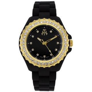 Jivago Women's Cherie Goldtone Stainless Steel and Black Silicon Watch