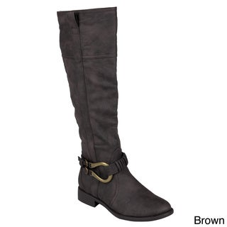 Journee Collection Women's 'Hail' Tall Buckle Detail Boots